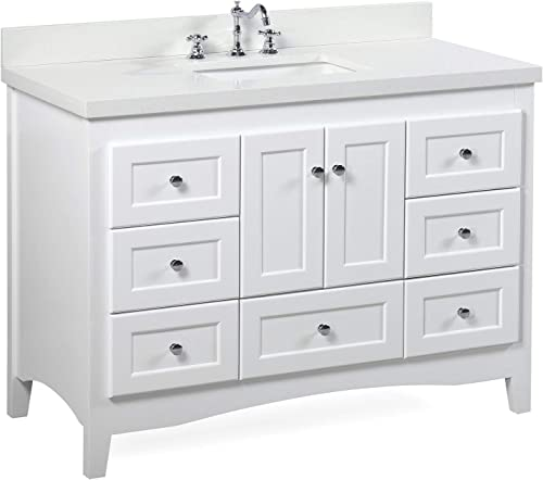 Abbey 48-inch Bathroom Vanity Quartz/White : Includes White Cabinet