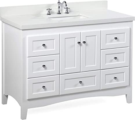 Amazon Com Abbey 48 Inch Bathroom Vanity Quartz White Includes White Cabinet With Stunning Quartz Countertop And White Ceramic Sink Home Improvement