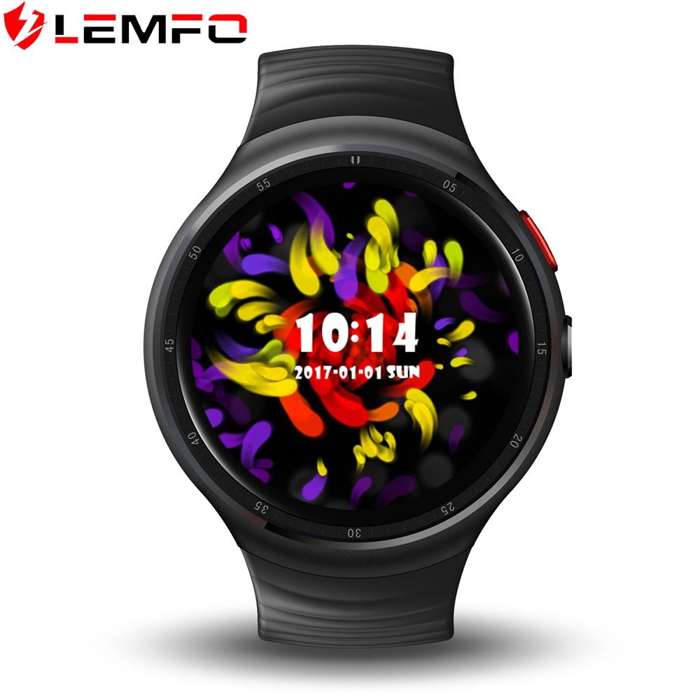 LEMFO LES1 Smart Watch Android 5.1 Wrist Band Bluetooth4.0 MTK6580 1.3GHz Quad-core 1GB RAM 16GB ROM with Wifi /Sim /GPS Heart Rate Monitor Smartwatch phone for Anrioid iOS Black by LEMFO