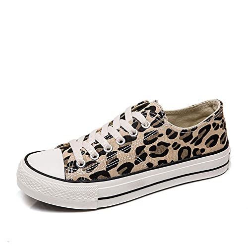 f6c7575ce chegong Women s Canvas Lace Up Sneakers Leopard Casual Skateboarding Shoes  (35 US 5.5(