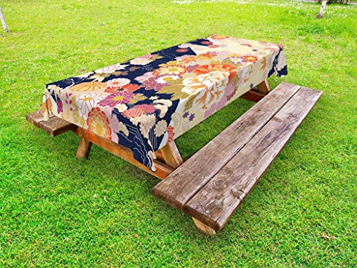 Ambesonne Japanese Outdoor Tablecloth, Traditional Kimono Motifs Composition Asian Ethnic Floral Patterns Vintage Artwork, Decorative Washable Picnic Table Cloth, 58 X 84 Inches, -