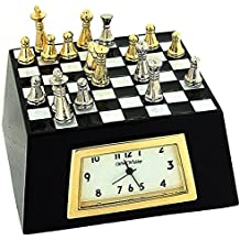 Miniature Chess Board Novelty Quartz Movement Black & White Collector Clock 9595