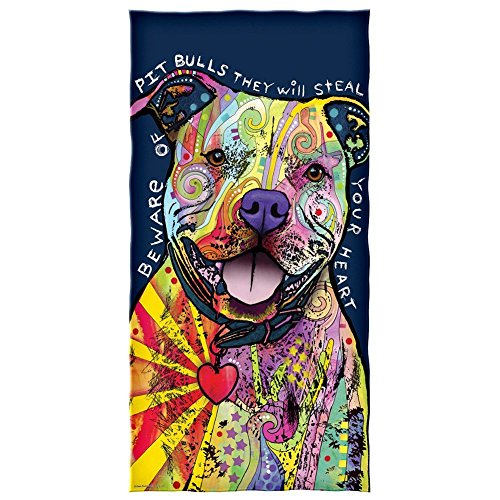 steamship n Dean Russo Beware of Pit Bulls They Will Steal Your Heart Cotton Beach Towel 31 x 51 (Pit Bull Girl)