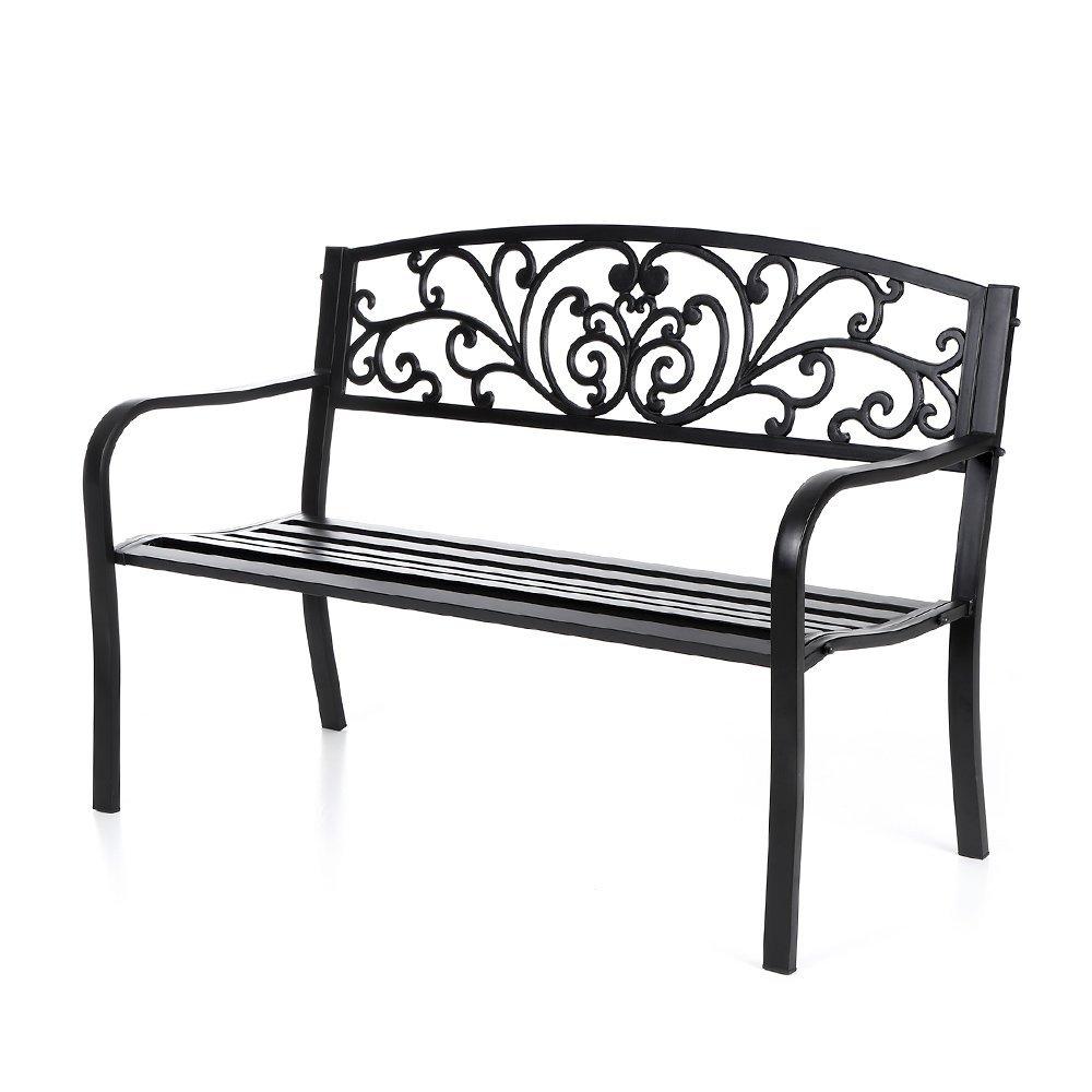 IKAYAA 50 Gartenbank Parkbank Gartenmöbel aus Gußeisen und Stahl mit ...