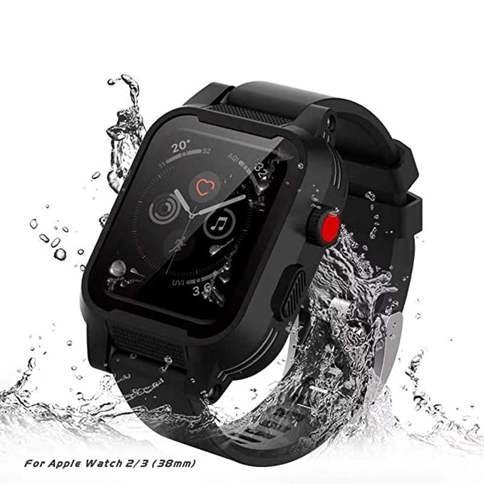 the best attitude c4c6c dfc20 [Waterproof Case for 38mm] AIUERU Waterproof Watch Case with IP68 and  Resilient Shock Absorption for 38mm Apple Watch Series 3 and 2 / with 2  Soft ...
