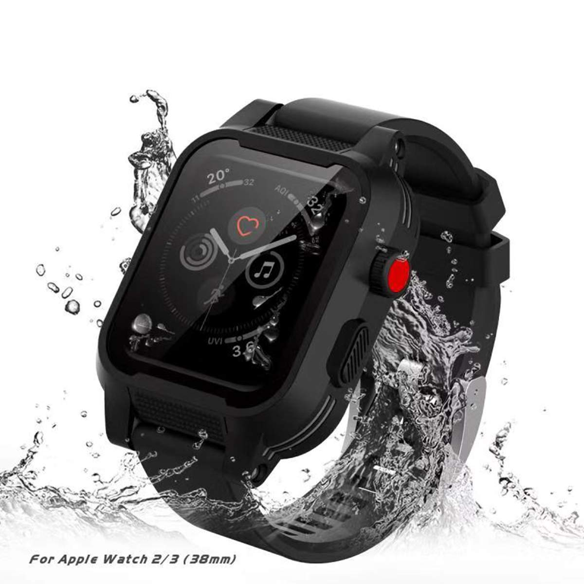 [Waterproof Case for 38mm] AIUERU Waterproof Watch Case with IP68 and Resilient Shock Absorption for 38mm Apple Watch Series 3 and 2 / with 2 Soft Silicone Watch Band - Black