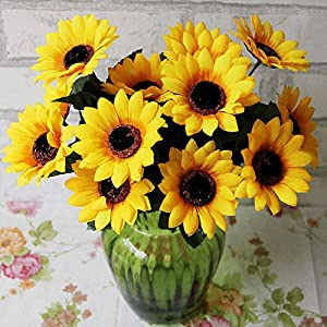 FYYDNZA 1Pcs Simulation Flower Wholesale Fake Flower Sunflower Simulation 7 Sun Flower Living Room Decoration Silk Flower 24