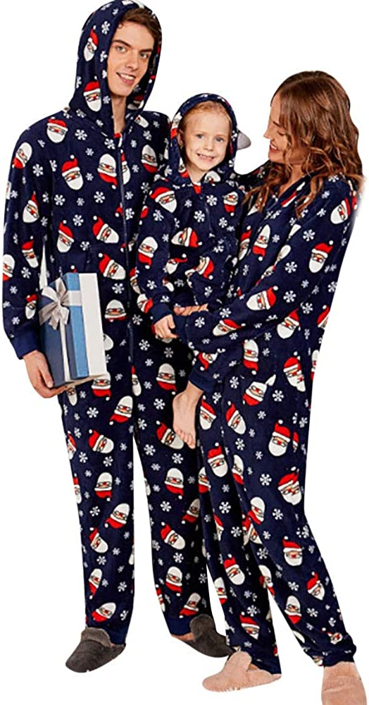 Christmas Kid Romper,Fineser Children Boy Girl Long Sleeves Santa Print Hoodie Romper Jumpsuit Family Pajamas Sleepwear 3-7T