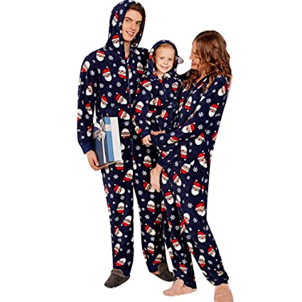 6ca198d4cf WensLTD Family Matching Christmas Pajamas Set Hooded Onesie Jumpsuit (3T