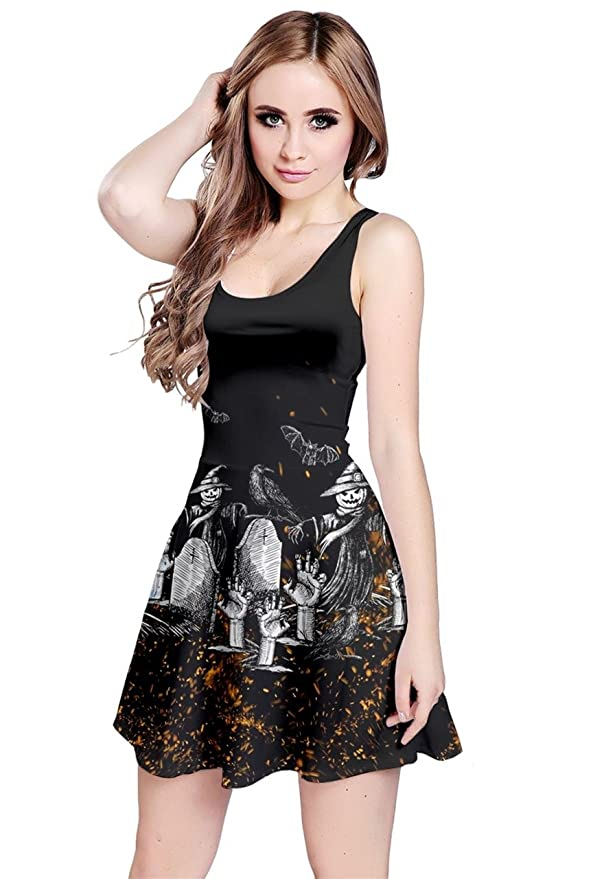 CowCow Womens Halloween Story Black Sleeveless Dress, Black - S