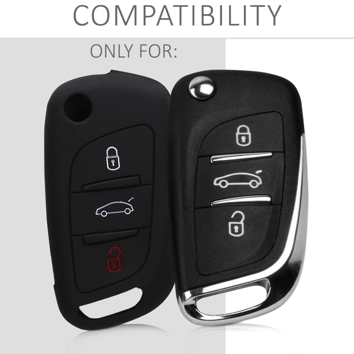 de - Case Mando de Auto Carcasa Protectora Silicona Suave kwmobile Funda de Silicona para Llave Plegable de 2 Botones para Coche VW Skoda Seat Azul