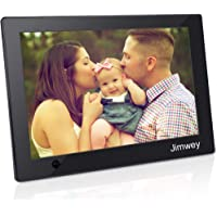 Digital Photo Frame 10 inch Jimwey 1080P HD IPS LCD Display Electronic Picture Frame with Motion Sensor Gravity Sensor, HD Video/ MP3/ Electronic Photo/ Advertising Display/ Digital Clock/ Calendar