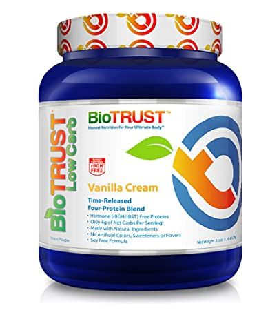 BioTrust Low Carb Natural and Delicious Protein Powder Whey Casein Blend from Grass-Fed Hormone Free Cows Non GMO, Soy Free, Gluten Free, Hormone Antibiotic Free Vanilla Cream Protein