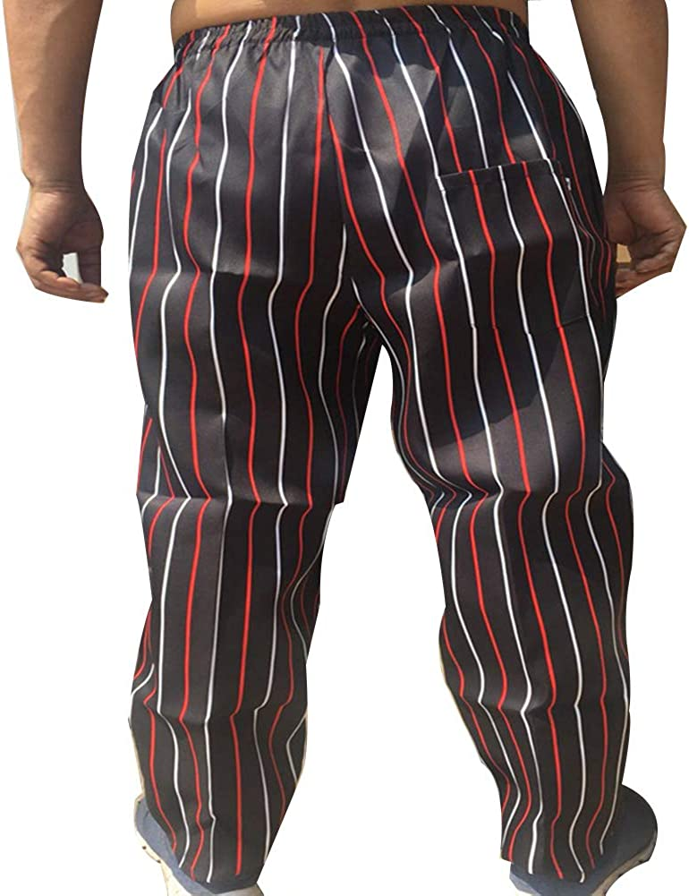 Insun Hombre Pantal/ón El/ástico para Chef Pantalones de Cocinero Cocinero Trabajo Pantalones