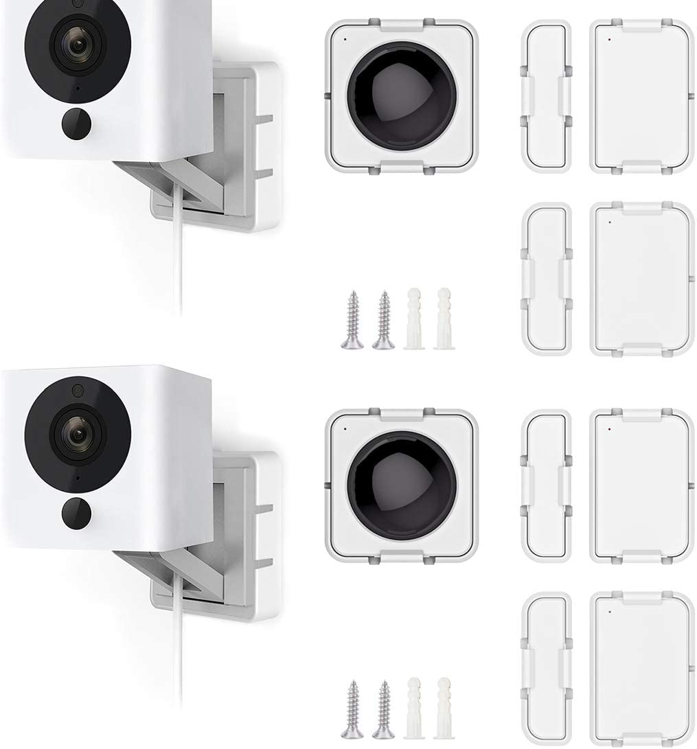 Wyze Cam Mount with Wyze Sensors Mounting Kit, Semi-Permanent Solution for Wyze Cam and Wyze Sense Starter Kit, Screw Wall Mount Holder for Wyze Smart Home(2 Camera mounts+2 Sets of Sensor mounts)