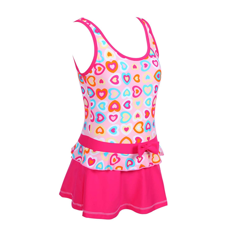 Chrysea Girls Stripe Swimwear One-Piece Swimsuit with Flowers Applique