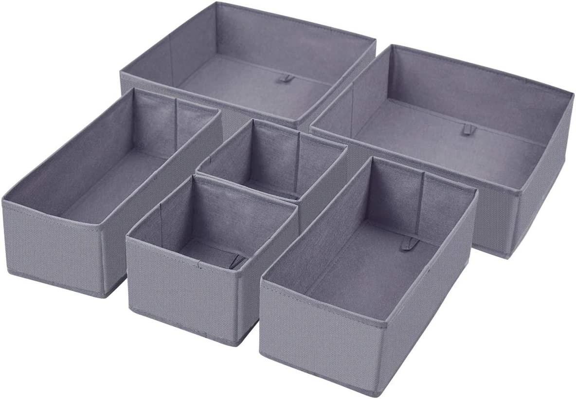 Homyfort Foldable Cloth Storage Box Closet Dresser Drawer Organizer Cube Basket Bins Containers Divider with Drawers for Underwear, Bras, Socks, Ties, Scarves, Set of 6, Grey