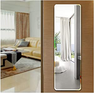 Ecentaur Wall Mounted Beveled Edge Mirror Doors Hanging Mirrors Full Length Glass Panel Rectangular Frameless Mirror for Bedroom Bathroom Living Room Wall Décor