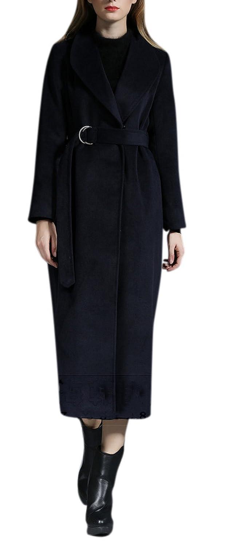 Lingswallow Women's Winter Maxi Length Wool Blend Blue Long Trench Coat Jacket