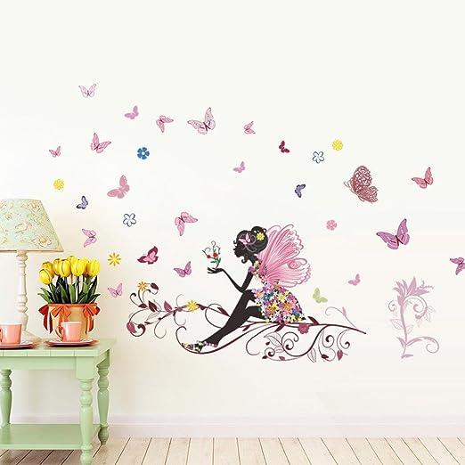 Amazon.com: CieKen New Butterfly Flower Fairy Stickers Bedroom ...