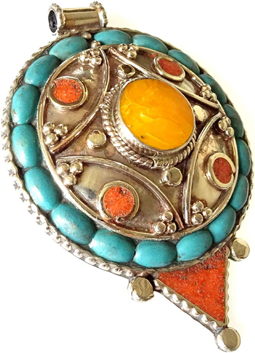 Bisutería de plata plateado colgante hecha a mano collar colgante filigrana étnica gitana auténtica turquesa Coral ámbar piedras preciosas amuleto curativo budista bohemio de moda para la mujer