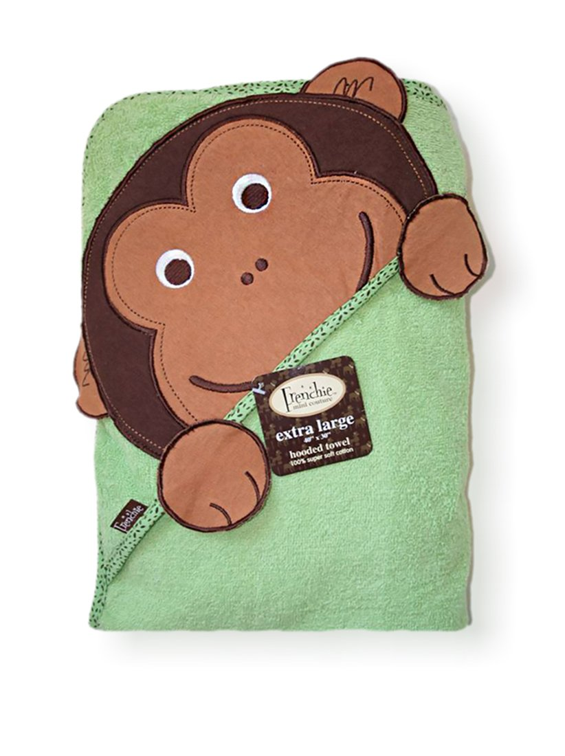 Extra Large 100 cm X 75 cm Absorbent Hooded Towel, Monkey, Frenchie Mini Couture HealthCentre 157