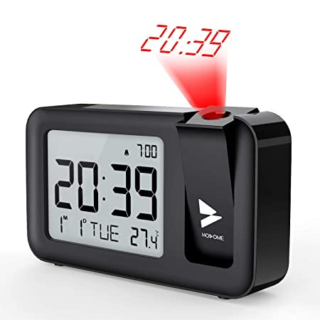 Hosome Despertadores Digitales Reloj Despertador Proyector con Temperatura 4 Brillo de Proyección 2 Niveles de Volumen,Función de Snooze,Configuración ...