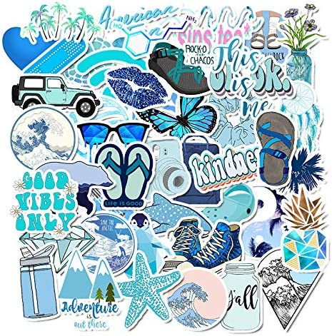 Mai Zi Stickers for Water Bottles 50 pcs Laptop Stickers Waterproof Stickers Pack Cute Aesthetics Stickers for Teens Girls (50 Pieces Blue)