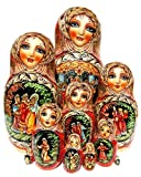 Huge 11'' Tall Golden Cockerel Exclusive 10-Piece Nesting Doll. Authentic Hand Painted Quality Babushka Doll. One-of-a-kind Stacking Babushka Doll Signed By Artist.