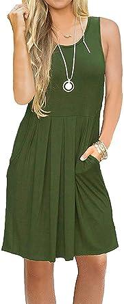 Mini Vestido de Mujer Estilo Camisa sin Mangas Ropa con Bolsillos Plisado Casual