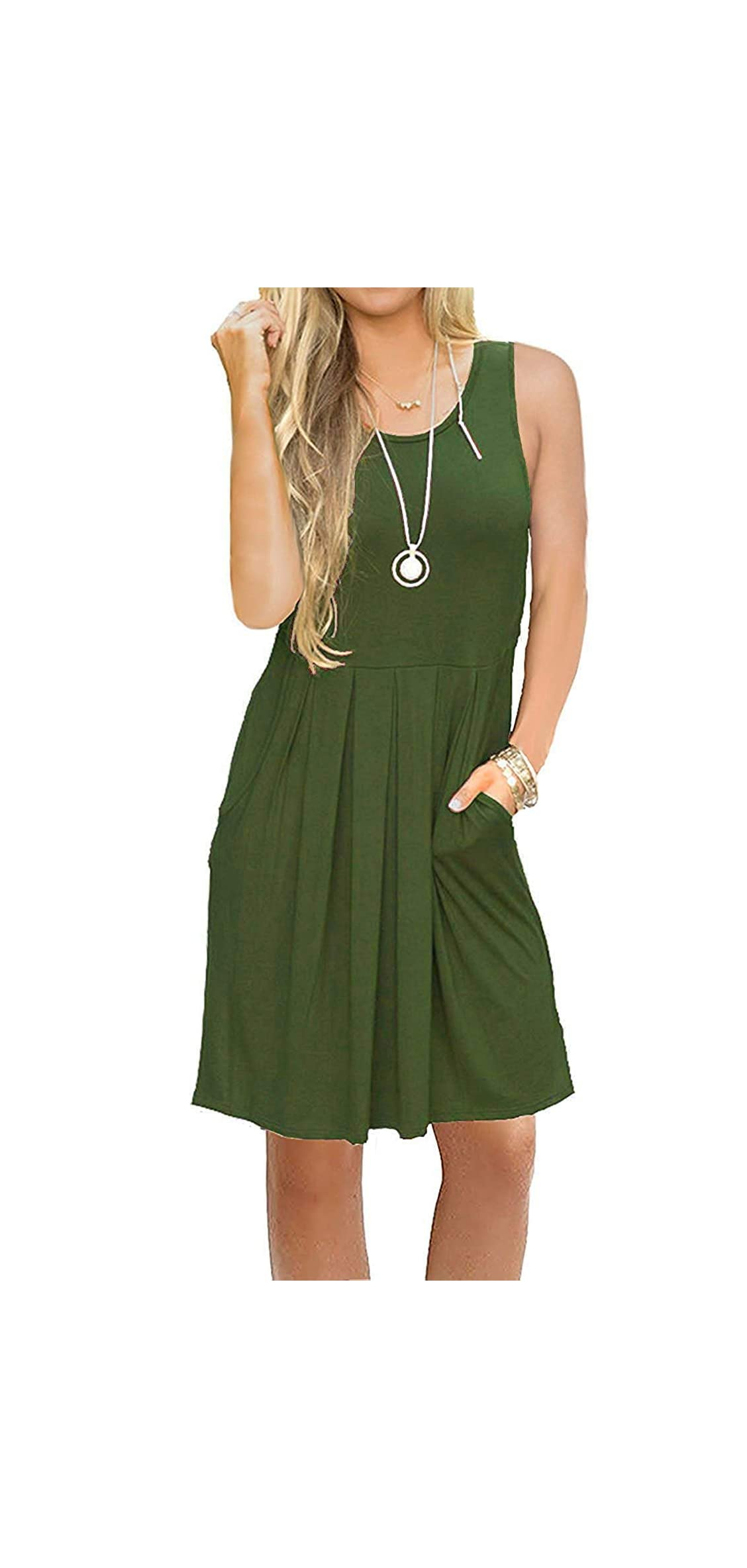 Women's Sleeveless Pleated Loose Swing Casual Dress