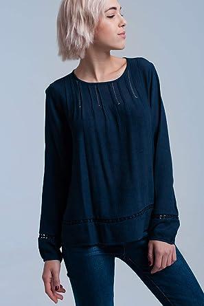 Q2 Camisa Plisada Azul Marino con Detalle de Ganchillo, S Mujeres: Amazon.es: Ropa y accesorios