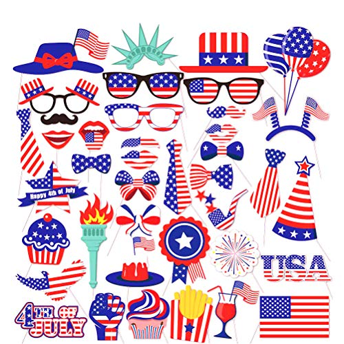 4th of July Photo Booth Props Patriotic Party American Independence Day Decorations DIY Kit Party Favors for Kids and Adults 40pcs (Set of 40)