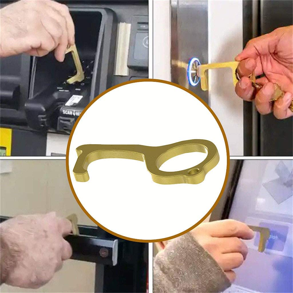 JKRED Brass Alloy Contactless Safety Door Opener Safety Protection Isolation Brass Clean-Key Door Opener