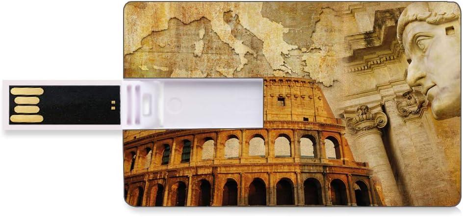 64GB Unidades Flash USB Flash Retro Forma de Tarjeta de crédito bancaria Clave Comercial U Disco de Almacenamiento Memory Stick Roman Empire Concept Columnas Famosas Escultora Coliseo Mapa de The Nat: Amazon.es: