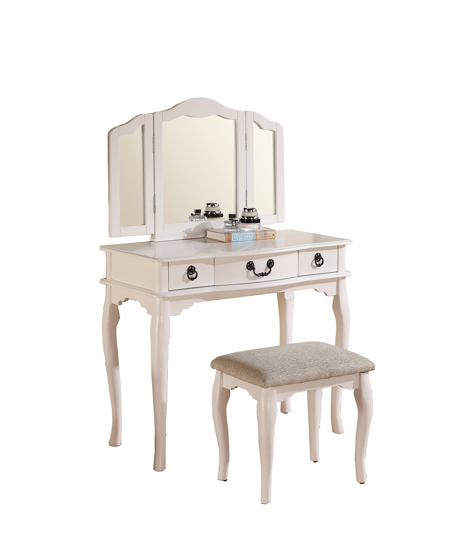 Poundex Bobkona Susana Tri-fold Mirror Vanity Table with Stool Set, White