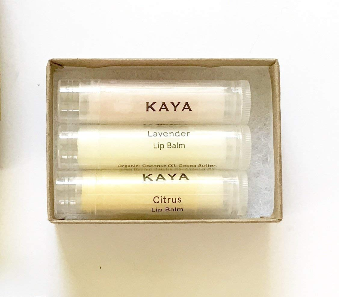 Kaya Natural & Organic Lip Balms Rose Citrus Lavender - Three Lip Balms | Gift Box