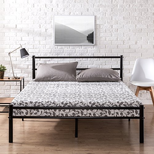 Zinus Metal Platform Bed Frame with Headboard and Footboard / Premium Steel Slat Support / Mattress Foundation, Queen (Back Piece 5 Slat)