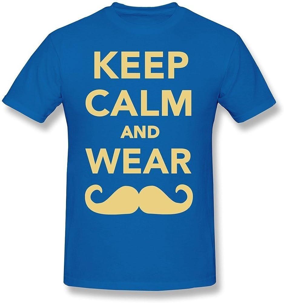 HD-Print Men's Tee Keep Calm Wear Mustache Black