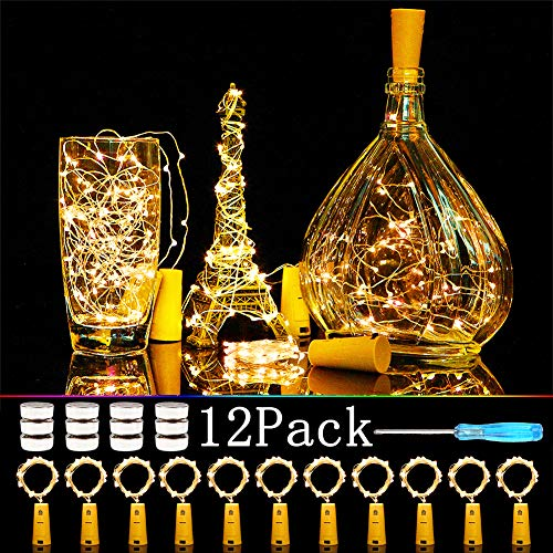 Cooo Wine Bottle Lights with Cork 12 Pack 20 Led 36 Pre-Installed+12 Replacement Batteries with Mini Fairy Light Battery Operated 7ft for DIY Party Table Christmas Halloween Wedding Decor(Warm White)]()