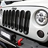 JUST N1 7PCS Gloss Black Front Grille Rings for Grand Cherokee Trackhawk SRT 2017-2019 Car Grill Inserts Cover