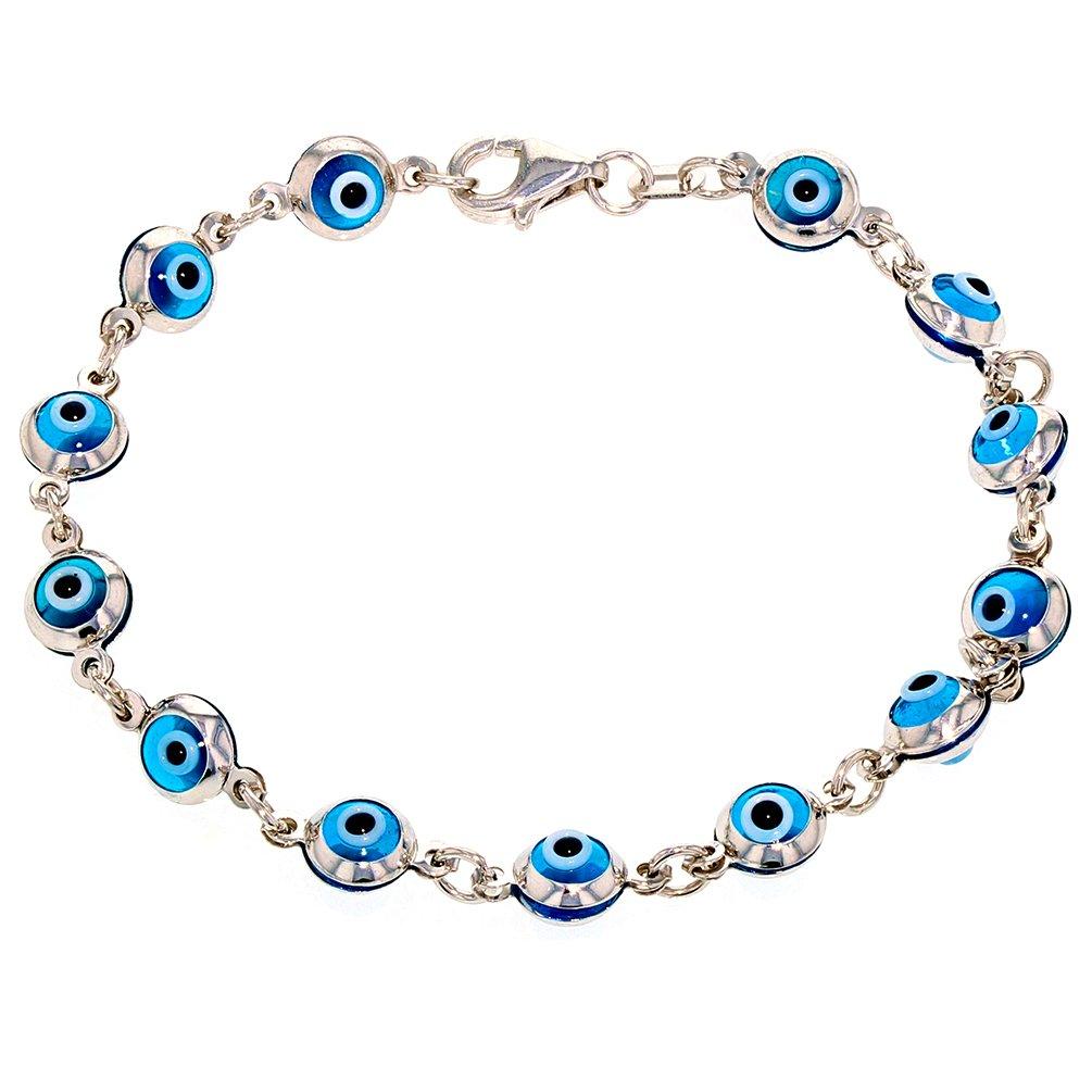 Polished 14k White Gold Blue Eye Good Luck Baby Bracelet, 6''