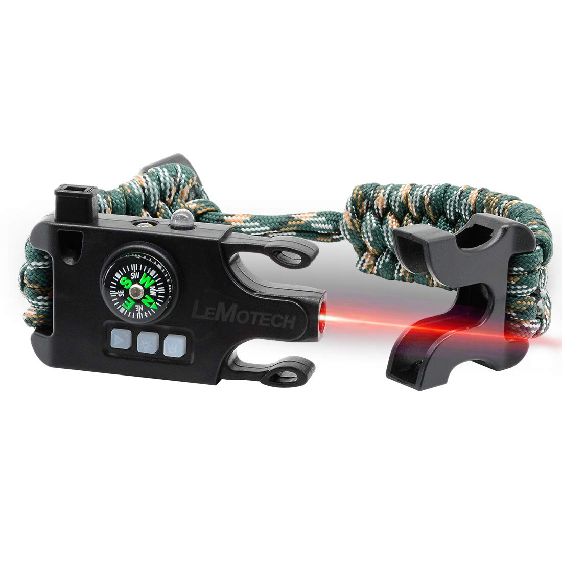 LeMotech Adjustable Survival Paracord Bracelet, Tactical Emergency Gear Kit Includes Laser Infrared, SOS LED Flashlight, UV Lamp, Upgrade Compass, Rescue Whistle-Outdoors, Hiking, Camping,and Hunting