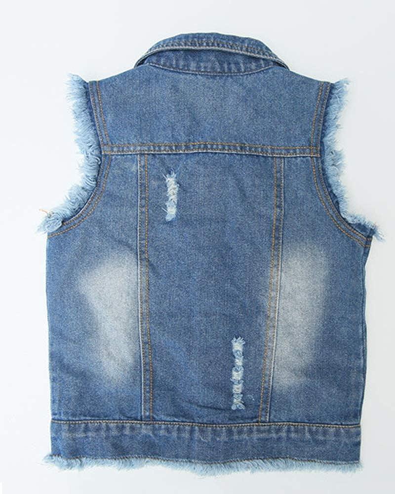 Yonglan Bambina Giubbotto di Jeans da Panciotto Abbottonato Senza Maniche Casual Tasche sul Petto