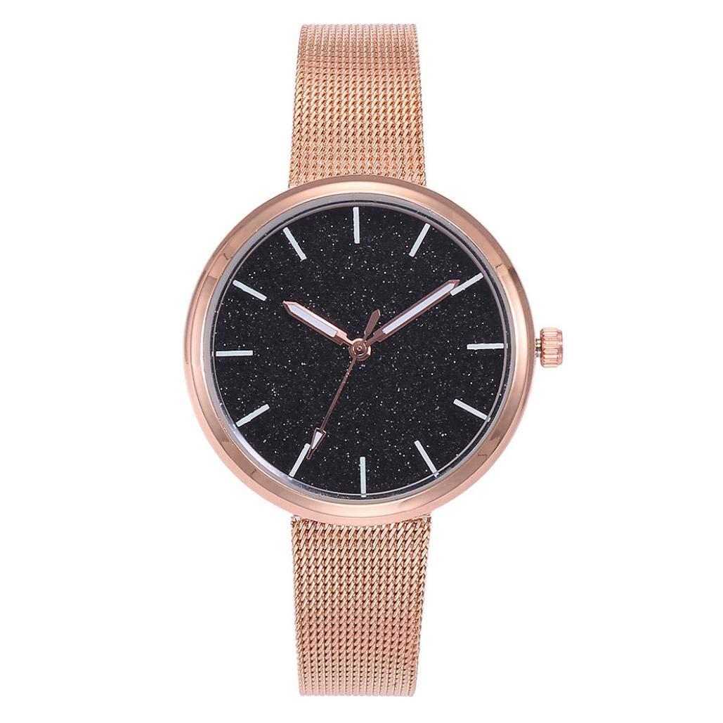 Women's Watch, Iuhan Women Stainless Steel Band Ladies Quartz Wristwatches Women Casual Mesh Clock Bracelet Watch Analog Wrist Watch (Black)