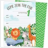 "First Birthday Party Invitations with Safari Animals. Set of 25 4.25"" x 6"" Cards and White Envelopes. Printed on Heavy Card Stock."