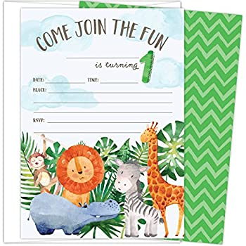 First Birthday Party Invitations With Safari Animals Set Of 25 425 X 6