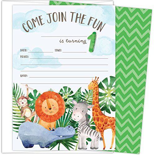First Birthday Party Invitations with Safari Animals. Set