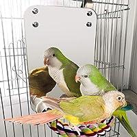 POPETPOP Bird Cage Mirror with Perch-Large Bird Mirror Parakeet Perch,New Comfy Perch for Greys Parakeet Cockatiel Conure Lovebirds Finch Canaries Bird Accessories