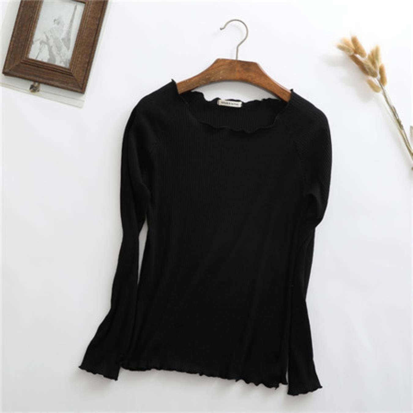 Cotton Spring Sweet Ruffles O Neck Knitted Long Sleeve T-Shirt Basic Tee Casual White Stretch T Shirt Autumn Slim Tops